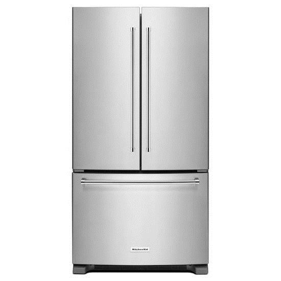 KitchenAid 20 Cu. Ft. 36 Inch Width Counter Depth French Door Refrigerator  With Interior Dispense   Furniture And ApplianceMart   Refrigerator    French Door