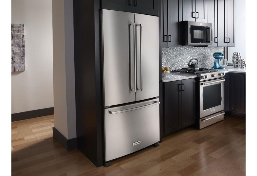 KitchenAid French Door Refrigerators 22 Cu. Ft. Counter Depth French Door  Refrigerator with Internal Water Dispenser by KitchenAid at Furniture and  ...