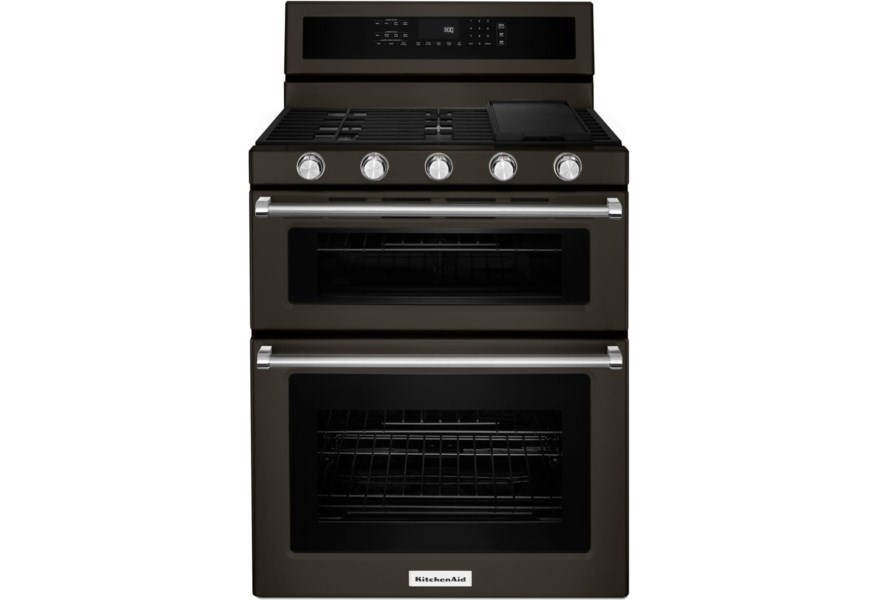 KitchenAid Gas Ranges 30-Inch 5 Burner Gas Double Oven Convection Range by  KitchenAid at Furniture and ApplianceMart