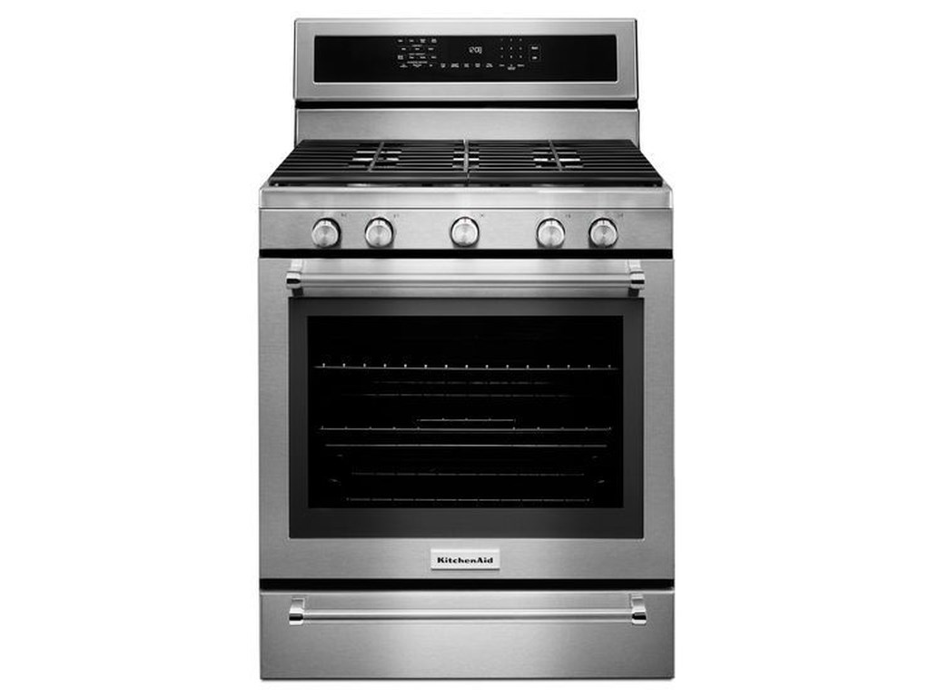 KitchenAid 30-Inch 5 Burner Gas Convection Range with Warming Drawer
