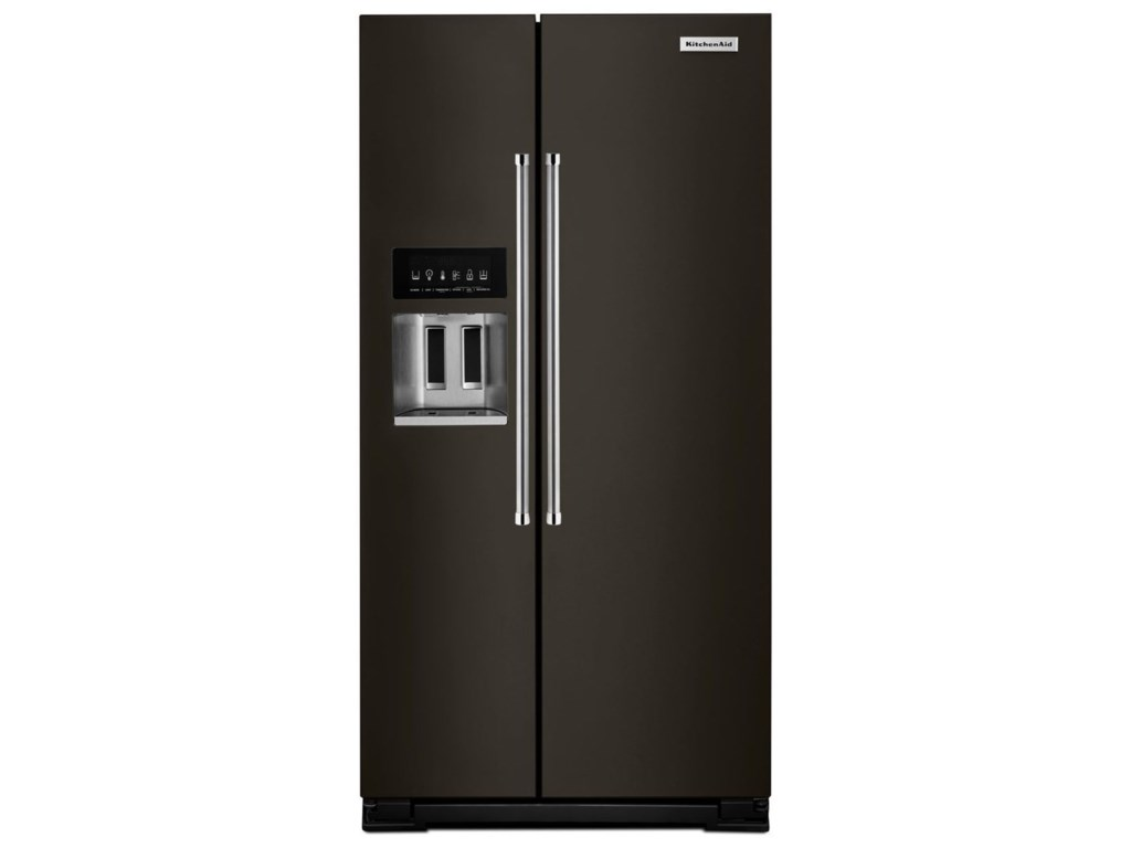 KitchenAid Side-by-Side Refrigerator 22.7 Cu. Ft. Counter Depth  Side-by-Side Refrigerator with Exterior Ice and Water by KitchenAid at  Furniture and ...