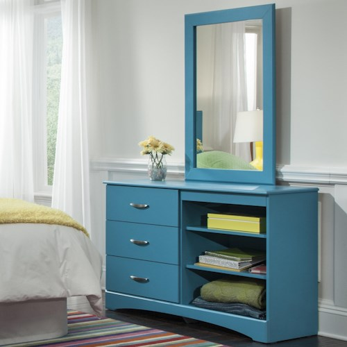 Kith Furniture 173 Turquoise Mirror and Dresser with Three Drawers and Two Shelves