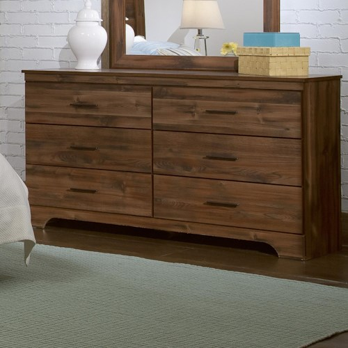 Kith Furniture Livingston Urban Casual 6 Drawer Dresser with Arched Base