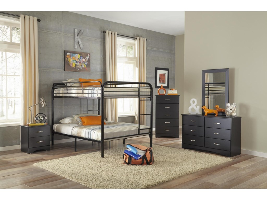 Kith Furniture Bunkbeds Kith 115 Ff Black Full Over Full Metal