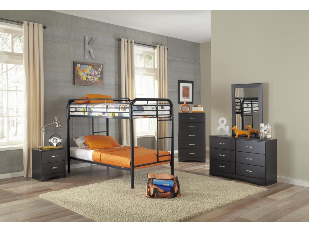 Kith Furniture BunkbedsBlack Twin-Over-Twin Metal Bunkbed