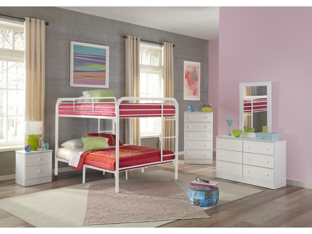 Kith Furniture Bunkbeds Kith 269 Ff White Full Over Full Metal