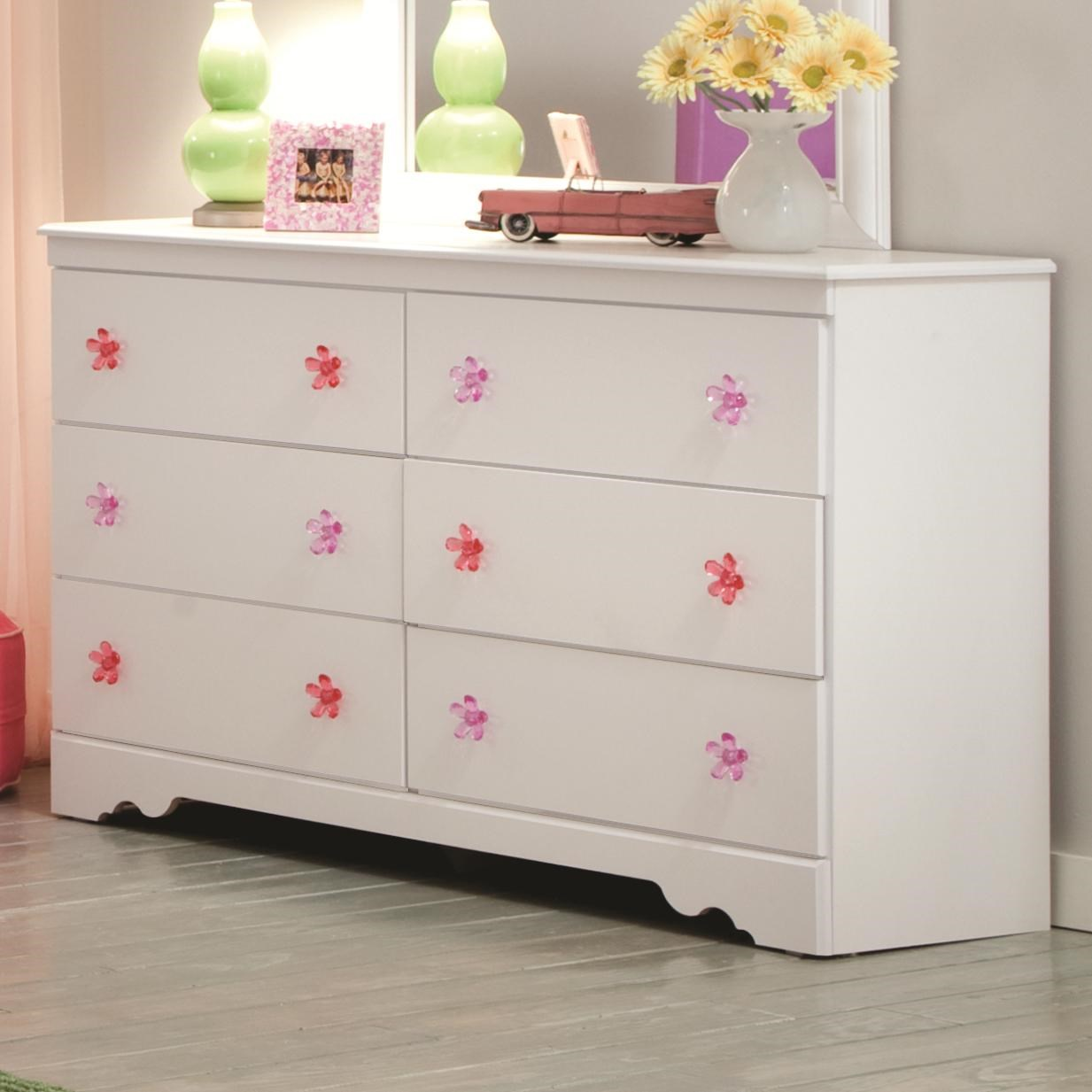 Charmant Kith Furniture Savannah 6 Drawer Dresser With Flower Shaped Handles