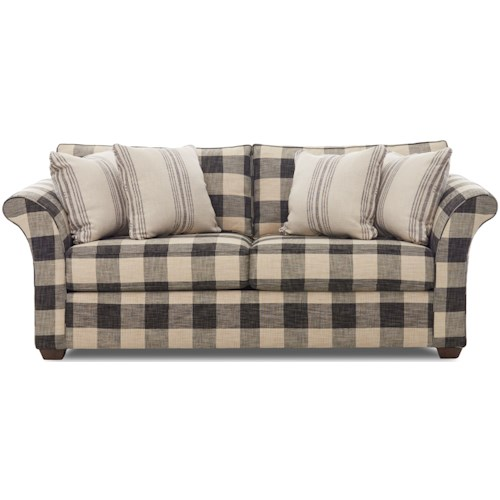 Klaussner  Jaxon Two Seat Sleeper Sofa with Flared Arms and Full Size Enso Memory Foam Mattress