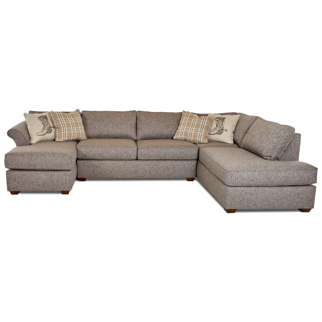 Klaussner Jaxon Three Piece Sectional Sofa with Flared Arms and