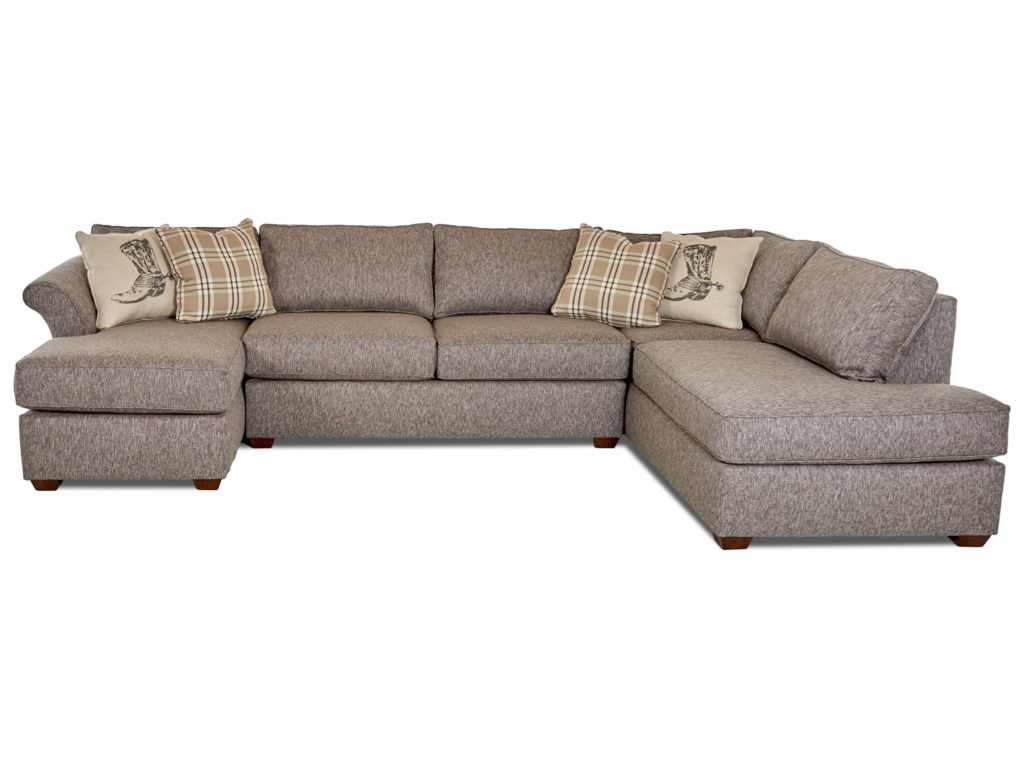 Jaxon Three Piece Sectional Sofa with Flared Arms and RAF Sofa Chaise by  Klaussner at Dunk & Bright Furniture
