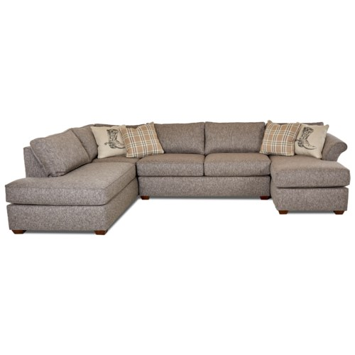 Klaussner Jaxon Three Piece Sectional Sofa With Flared