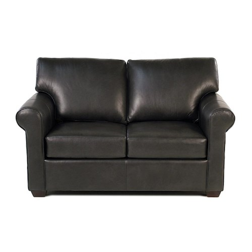 Simple Elegance Cascade Transitional Loveseat with Rolled Arms and Exposed Wood Feet