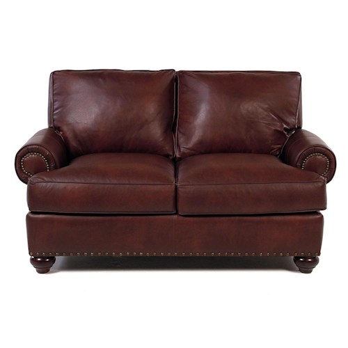 Simple Elegance Ellington  Leather Loveseat w/ Nailhead Trim