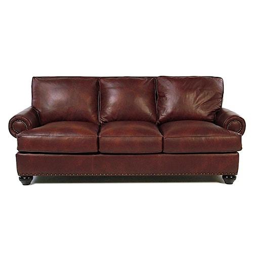 Simple Elegance Ellington  Leather Sofa w/ Nailhead Trim