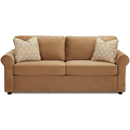 Klaussner Brighton Air Dream Queen Sleeper Sofa with Rolled Arms