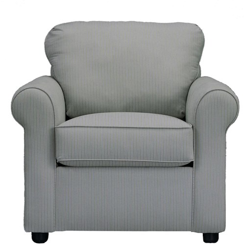 Klaussner Brighton Upholstered Chair with Rolled Arms