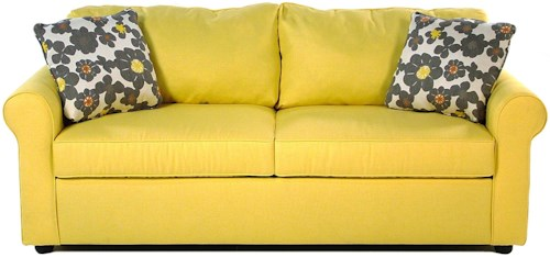 Simple Elegance Sunburst Dreamquest Queen Sleeper Sofa with Rolled Arms