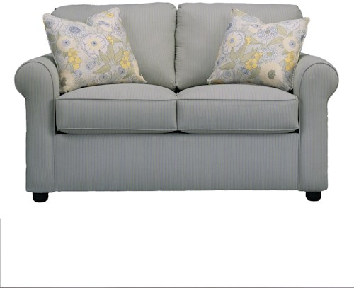 Klaussner Brighton Upholstered Loveseat with Rolled Arms