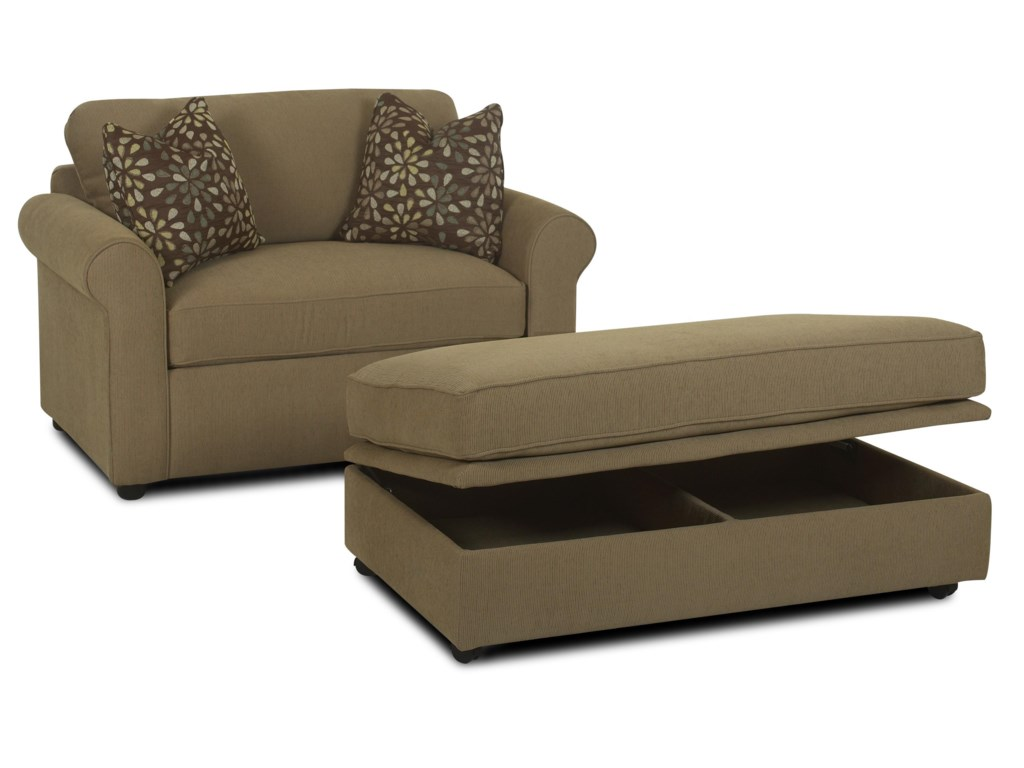 Klaussner BrightonRoyal Chair Sleeper & Storage Ottoman