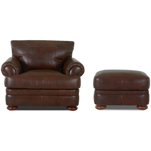 Klaussner Montezuma Casual Style Leather Chair and Ottoman