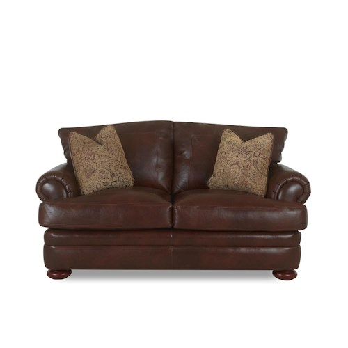 Klaussner Montezuma Casual Style Leather Loveseat with Bun Feet