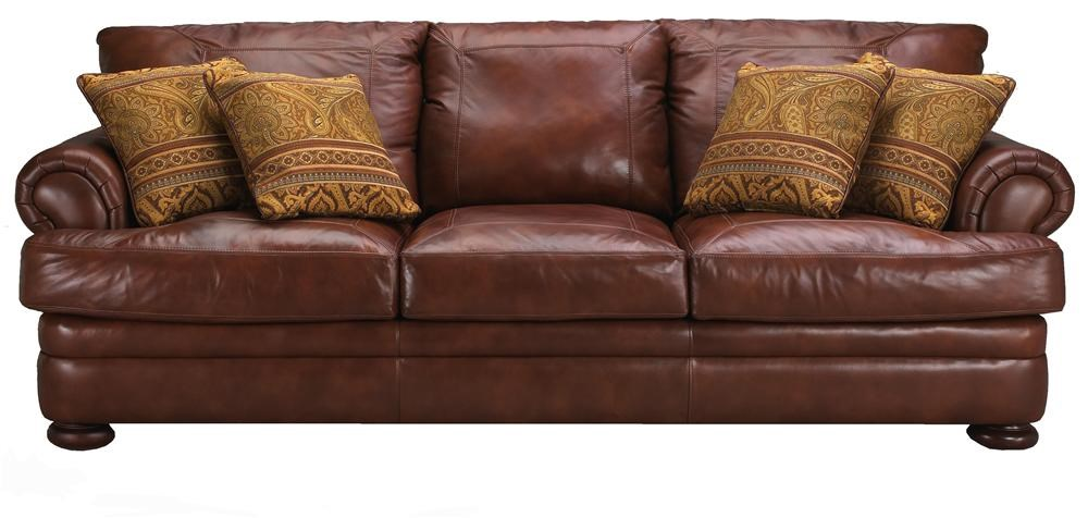 Klaussner Montezuma Casual Style Leather Sofa With Bun Feet   Darvin  Furniture   Sofas