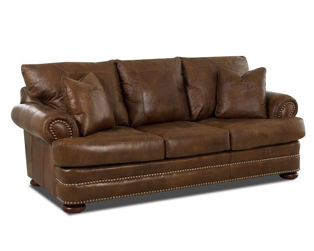 Leather Studio Sofa with Rolled Arms