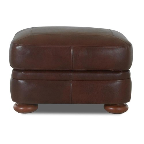 Klaussner Montezuma Leather Ottoman with Bun Feet