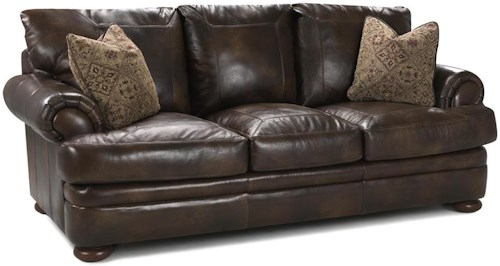 Klaussner Montezuma Leather Studio Sofa with Rolled Arms
