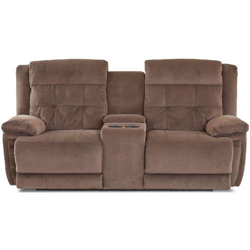 Klaussner McCall Casual Power Reclining Console Loveseat with Power Headrest/Lumbar and USB Port