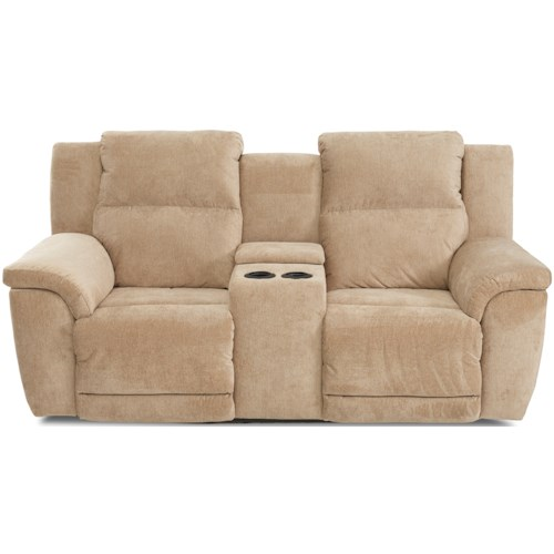 Klaussner Albus Power Reclining Console Loveseat with Power Headrests and USB Ports