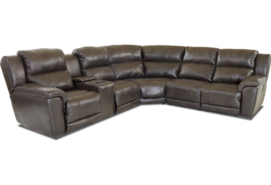 Klaussner Albus Three Piece Power Reclining Sectional Sofa ...