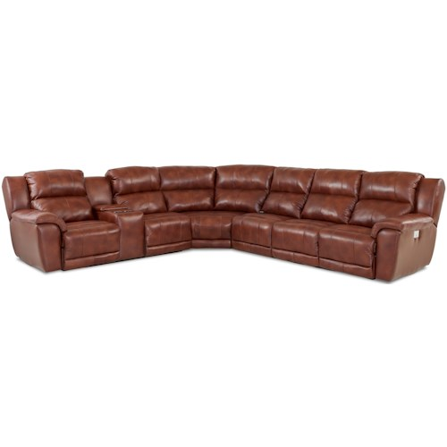 Klaussner Albus Four Piece Power Reclining Sectional Sofa with Power Headrests and USB Ports