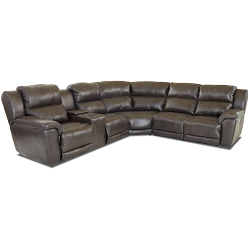 Klaussner Albus Three Piece Power Reclining Sectional Sofa with Power Headrests & Lumbar and USB Ports