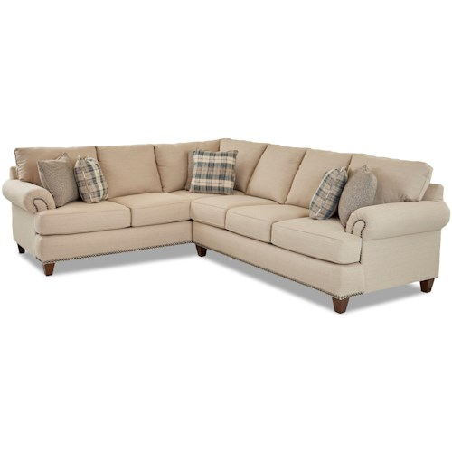 Klaussner Alexa Two Piece Sectional Sofa with RAF Sofa