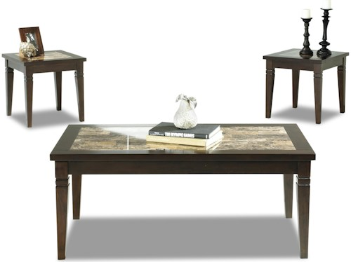Klaussner International Allendale 3 Pack Cocktail Table & 2 End Tables with Faux Marble Top