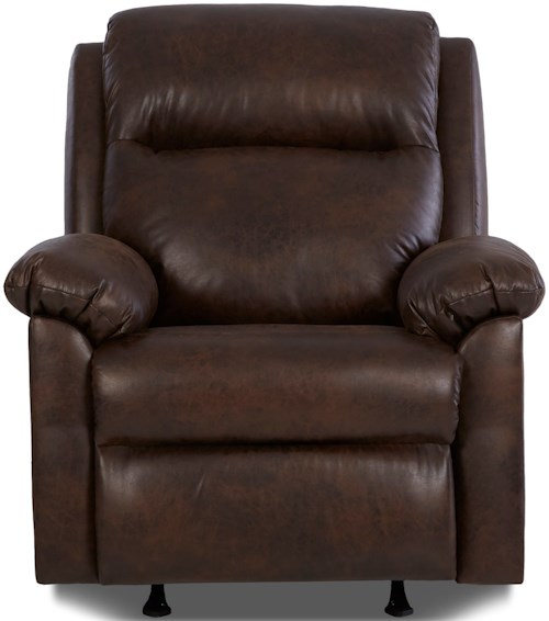 Klaussner Amari Casual Pillow Padded Power Rocker Recliner with Power Headrest