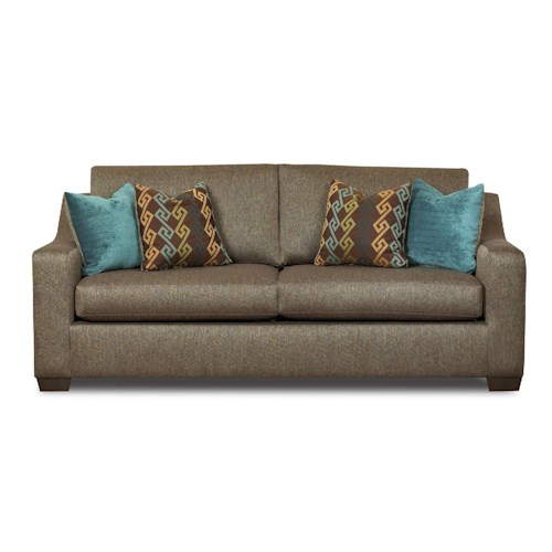 Klaussner Argos Contemporary Sofa with Sloped Arms and Loose Back Cushions