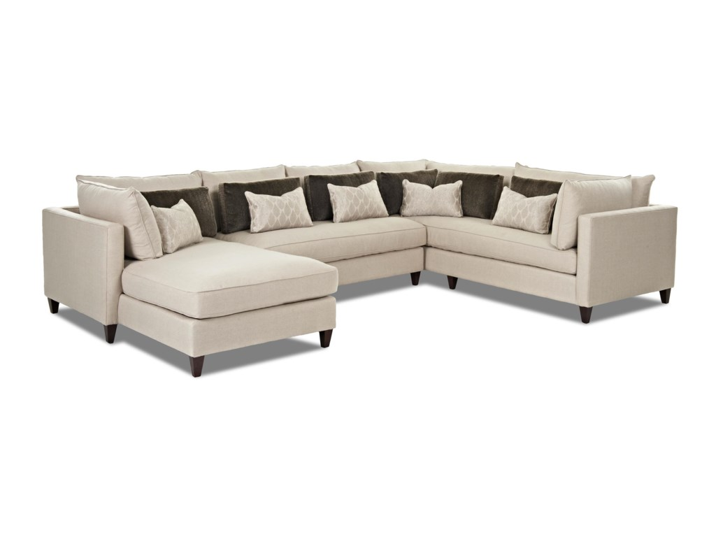 Klaussner Arianna Modern Sofa Sectional With Left Facing Chaise Lounge Sheely S Furniture Liance Sofas