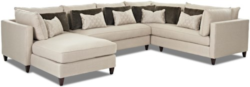 Klaussner Arianna Modern Sofa Sectional with Left Facing Chaise Lounge