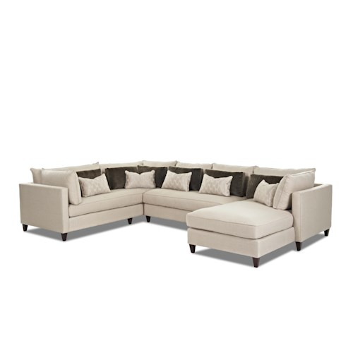 Klaussner Arianna Modern Sofa Sectional with Right Facing Chaise Lounge