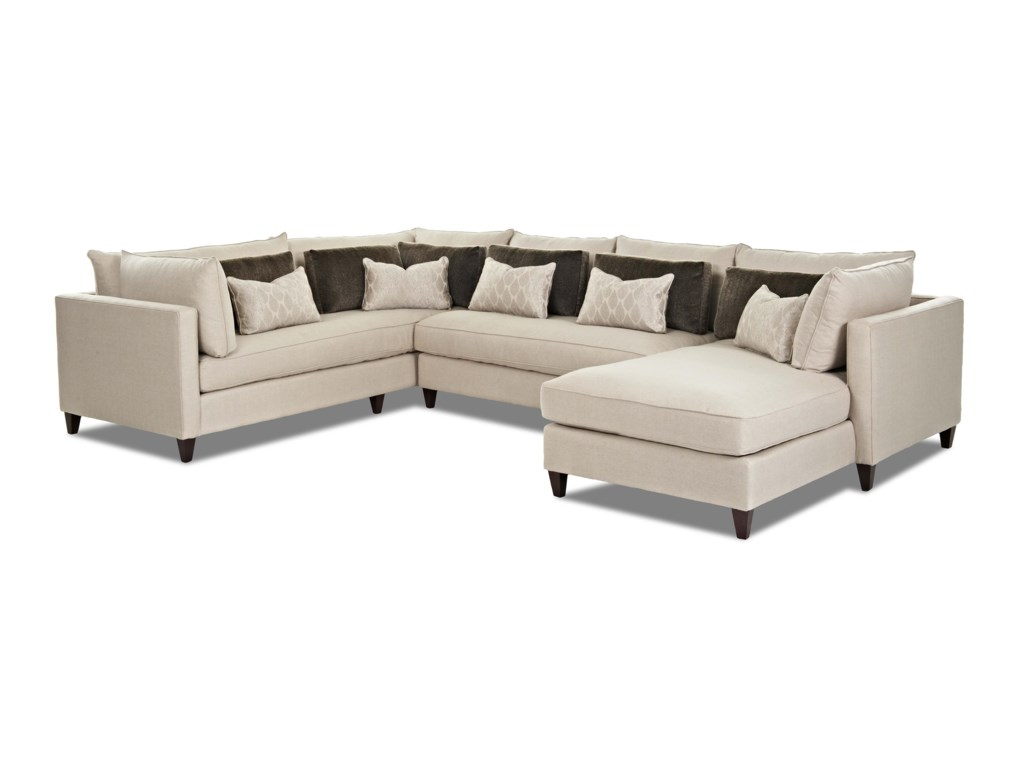Arianna Modern Sofa Sectional with Right Facing Chaise Lounge by Klaussner  at Value City Furniture