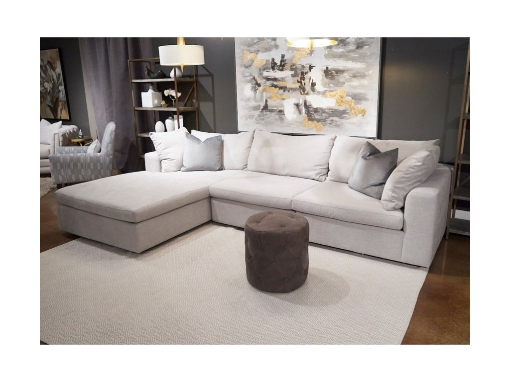 Klaussner Arnell3-Seat Sectional Sofa w/ LAF Chaise