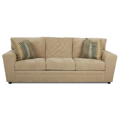 Klaussner Ashburn Casual Dreamquest Queen Sleeper Sofa with Track Arms