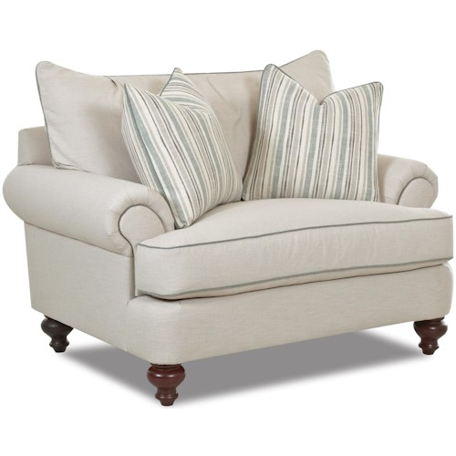 Klaussner Ashworth D95200 Traditional Upholstered Chair with T-Shaped, Down Cushions, Rolled Arms and Turned Legs