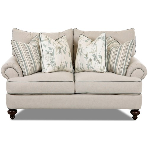 Klaussner Ashworth D95200 Traditional Loveseat with Rolled Arms and Turned Legs