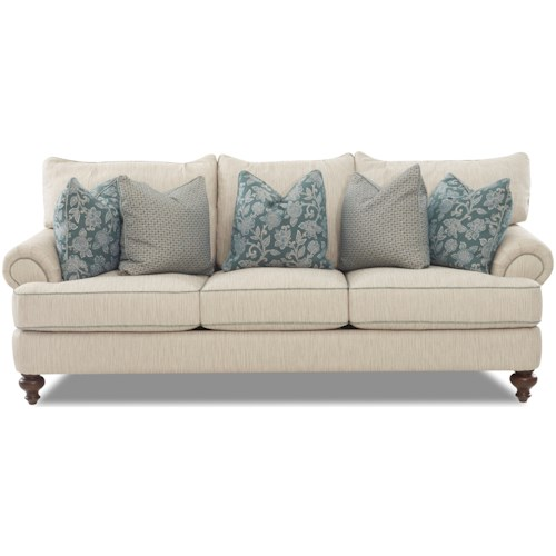 Klaussner Ashworth D95200 Traditional Upholstered Sofa with T-Shaped Down Cushions, Rolled Arms and Turned Legs