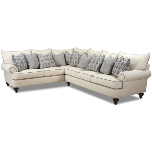 Klaussner Ashworth Shabby Chic Sectional Sofa