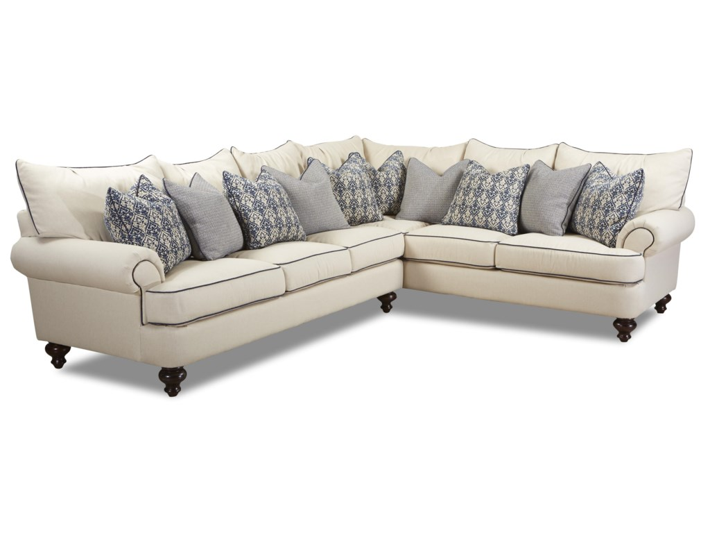 Klaussner ashworth shabby chic sectional sofa dunk bright furniture sectional sofas