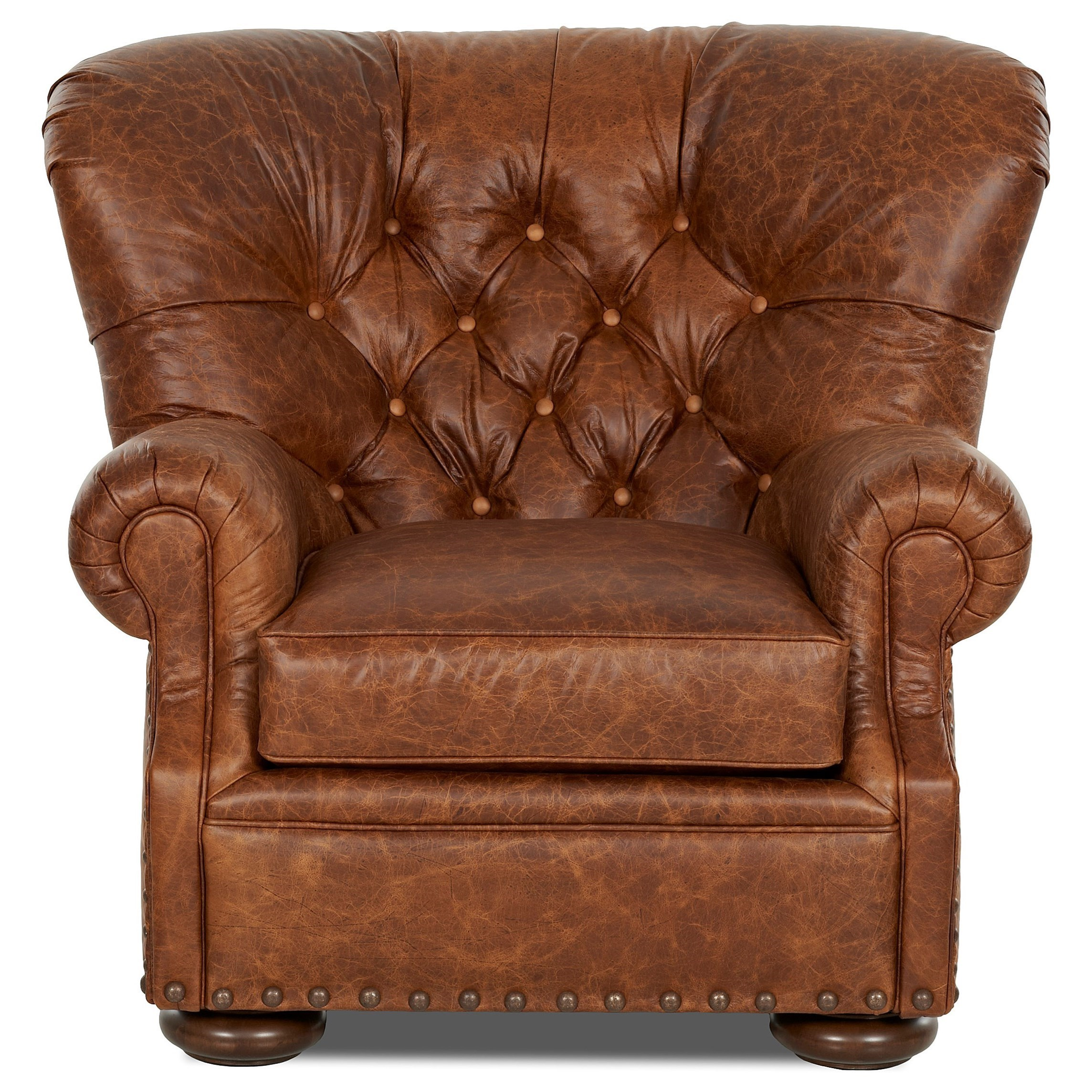 Klaussner Aspen Tufted Leather Chair And Ottoman Set Dunk